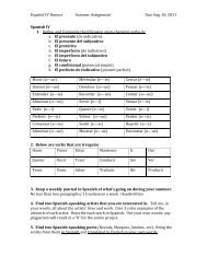Español IV Honors Summer Assignment Due - Shelby County Schools