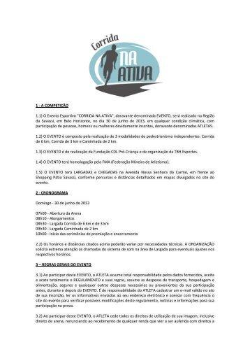 """1 - A COMPETIÇÃO 1.1) O Evento Esportivo """"CORRIDA NA ATIVA ..."""