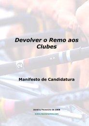 Devolver o Remo aos Clubes - ANATOMIA DO REMO