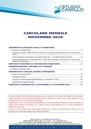CIRCOLARE MENSILE NOVEMBRE 2010 - Studio Camillo