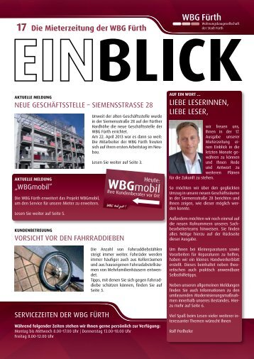 Die Mieterzeitung der WBG Fürth LieBe LeSerinnen, LieBe LeSer,