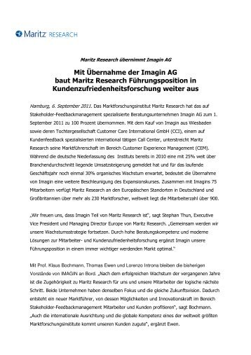 Maritz Research kauft Imagin AG - IMAGIN Prof. Bochmann AG