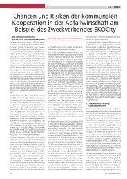 Chancen und Risiken der kommunalen Kooperation in der ...