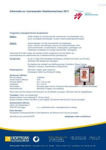 Informatie en Voorwaarden 2011.xlsx - Hoffman Outdoor Media BV