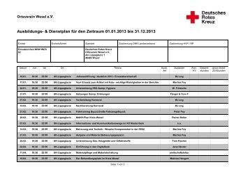 Ausbildungsabend - DRK Ortsverein Wesel eV