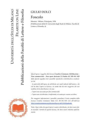 Foscolo - Studi umanistici Unimi - Università degli Studi di Milano