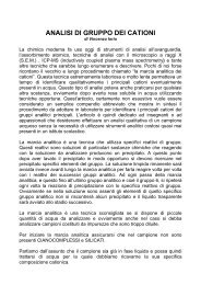 ANALISI DI GRUPPO DEI CATIONI di Vincenzo Iorio - atuttoportale