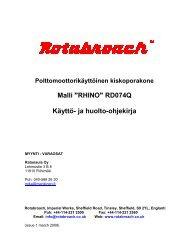 """Malli """"RHINO"""" RD074Q Käyttö- ja huolto-ohjekirja"""
