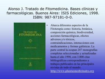 Alonso J. Tratado de Fitomedicina. Bases clínicas y farmacológicas ...
