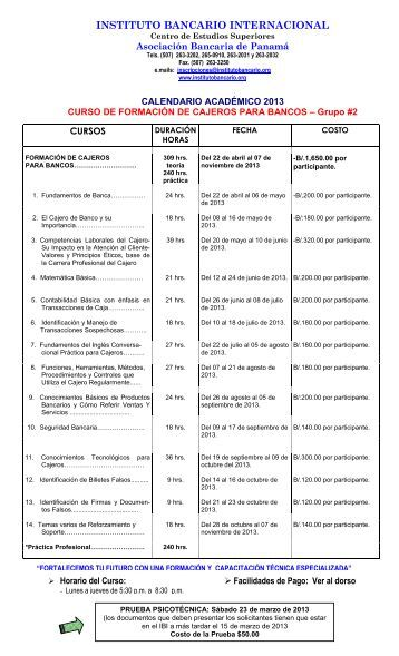 Grupo 2, Calendario Individual de Cajero 2013-1 - instituto bancario ...