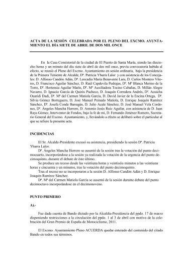 Acta de la Sesión Ordinaria del 7 de abril de 2011 - Ayuntamiento ...