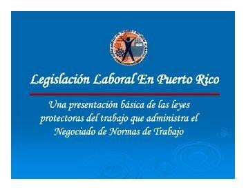 Legislación Laboral En Puerto Rico - UPRM