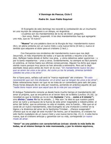 V Domingo de Pascua, Ciclo C Padre Dr. Juan ... - Homiletica.org