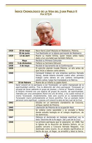 índice cronológico de la vida del juan pablo ii - Corazones.org