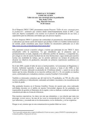 TESISTAS Y TUTORES COMUNICACIÓN Taller de tesis: una ...