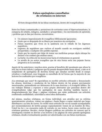 Falsos apologistas camuflados.pdf - iglesia bautista getsemani de ...