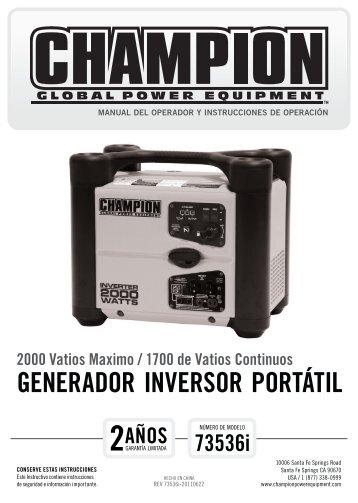 GENERADOR INVERSOR PORTÁTIL - Champion Power Equipment