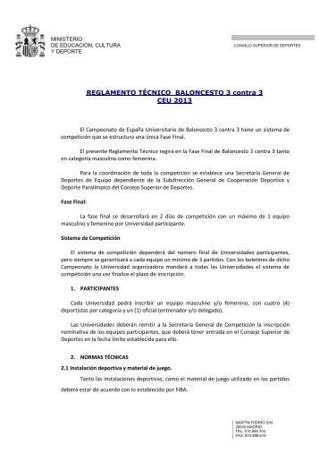Reglamento de Baloncesto 3x3 en PDF - Consejo Superior de ...