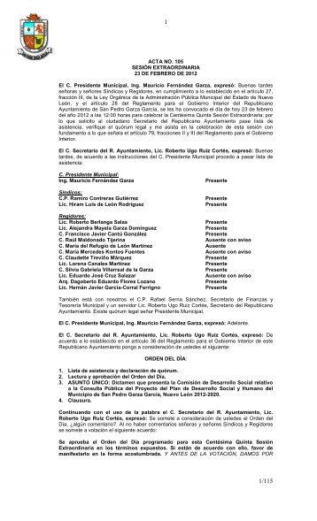 ACTA NO. 105 SESIÓN EXTRAORDINARIA 23 DE FEBRERO DE ...