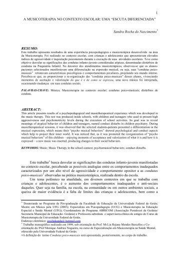 1 A MUSICOTERAPIA NO CONTEXTO ESCOLAR: UMA ... - anppom