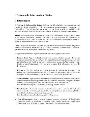 I. Sistema de Información Biótica - Conabio