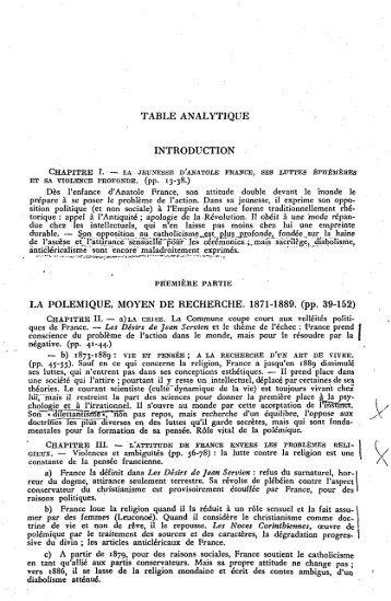 TABLE ANALYTIQUE INTRODUCTION LA POLEMIQUE ... - Index of