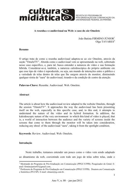 A resenha eo audiovisual na Web: o caso do site Omelete - CCHLA