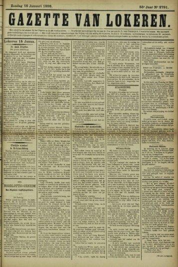 Zondag 16 Januari 1898. 55° Jaar N° 2791. Lokeren 15 Janua.