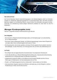 Manager Kundenprojekte (m/w) - Marketing Verbund