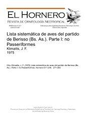 Lista sistemática de aves del partido de Berisso (Bs. As.). Parte I: no