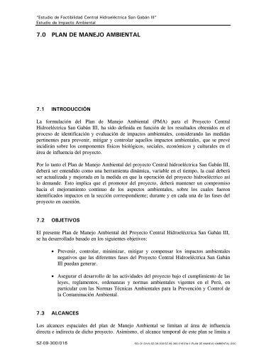 7.0 PLAN DE MANEJO AMBIENTAL - Ministerio de Energía y Minas