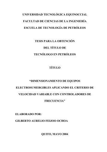 universidad tecnológica equinoccial facultad de ciencias de la ...