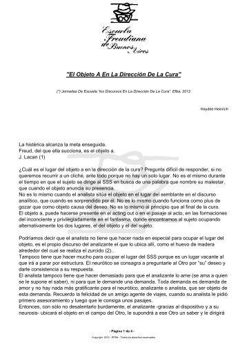 El Objeto A En La Dirección De La Cura - Escuela Freudiana de ...