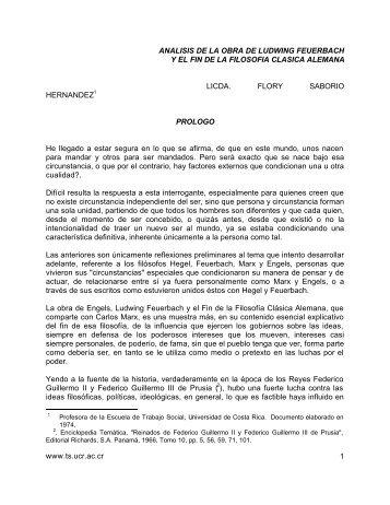 Análisis de la obra de Ludwing Feuergach y el fin de la filosofía ...