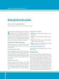 Kolanjiokarsinomlar - Güncel Gastroenteroloji