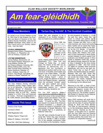 gleidhidh spring 2003a.pdf - Clan Wallace