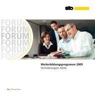 Weiterbildungsprogramm 2009 Vertriebsregion Mitte