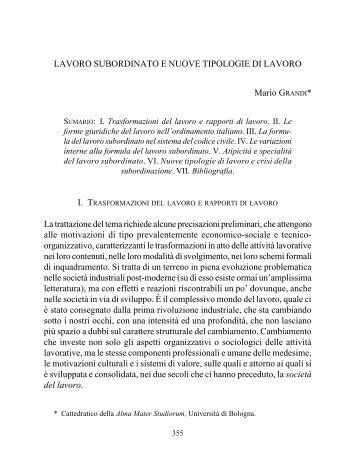 LAVORO SUBORDINATO E NUOVE TIPOLOGIE DI LAVORO Mario ...