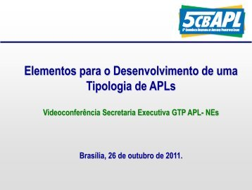 Elementos para o Desenvolvimento de uma Tipologia de APLs