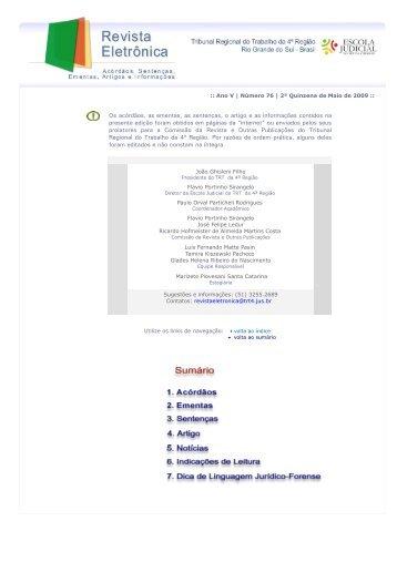 Revista Eletrônica 76ª Edição - 18/05/2009 [892 Kb - PDF] - Tribunal ...