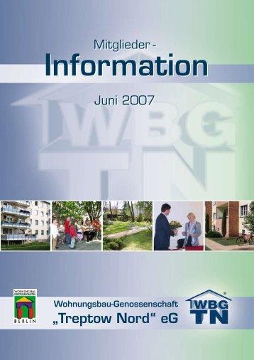 """Information - Wohnungsbau-Genossenschaft """"Treptow-Nord"""" eG"""