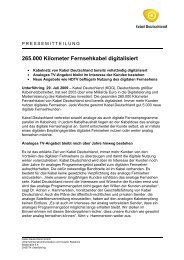 10/2010 Pressemitteilung Kabel Deutschland zur Digitalisierung des ...