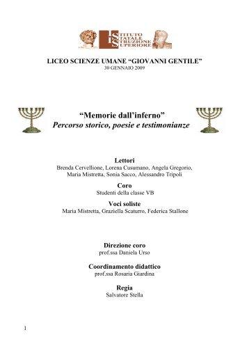 """""""Memorie dall'inferno"""" Percorso storico, poesie e ... - Liceo magistrale"""