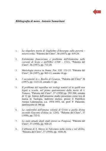 1 Bibliografia di Antonio Samaritani - Parrocchia di santa Francesca ...