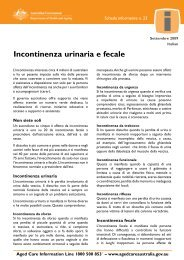 Incontinenza urinaria e fecale - Department of Health and Ageing