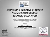 strategia e iniziative di toyota nel mercato europeo: il lancio della aygo