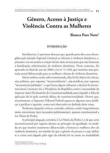 Gênero, Acesso à Justiça e Violência Contra as Mulheres - Emerj