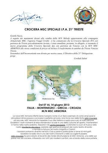 CROCIERA MSC SPECIALE I.P.A. 21° TRIESTE - IPA Italia