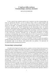 L'equivoco della coscienza Fenomenologia, coscienza ... - Psiche