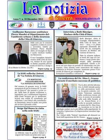 Anno V n. 10 Dicembre 2012 - Fogolarginevra.ch